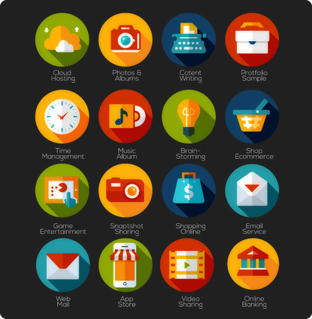 Illustrazione per Set of Flat Icons and app Icons - Immagini Royalty Free