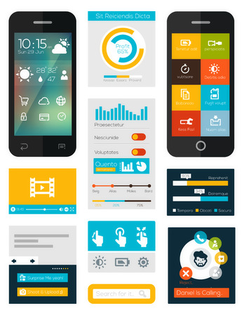 Illustration pour set of flat mobile elements, flat mobile phones and flat design icons for mobile app and web - image libre de droit