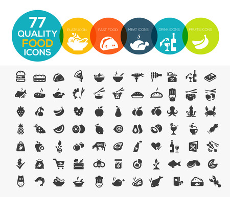 Illustration pour 77 High quality food icons, including meat, vegetable, fruits, seafood, desserts, drink, dairy products and more - image libre de droit