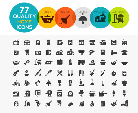 Illustration pour Home Icons including: home appliances, cleaning, kitchen utensil, lighting and electronics - image libre de droit