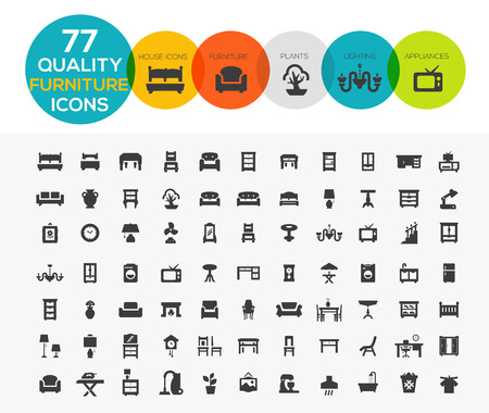 Illustration for High Quality Furniture Icons including: Beds, offices, accessories, appliances etc.. - Royalty Free Image