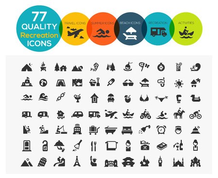 Illustration pour 77 High Quality Recreation Icons including: travel, beach, sports, hotel and camping - image libre de droit
