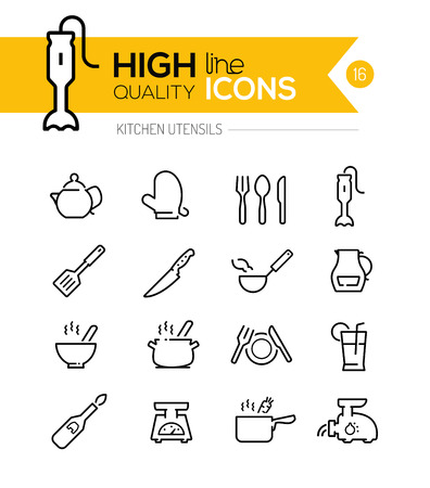 Ilustración de Kitchen Utensils line icons including, cookers, appliances, tools etc.. - Imagen libre de derechos