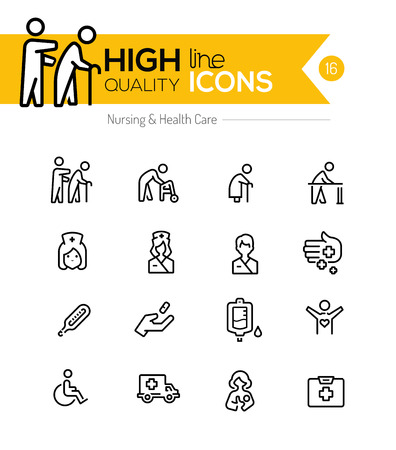 Illustration pour Nursing and healthcare line icons series - image libre de droit