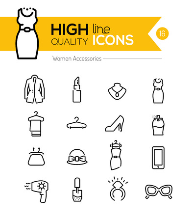 Ilustración de Women Accessories line icons series - Imagen libre de derechos