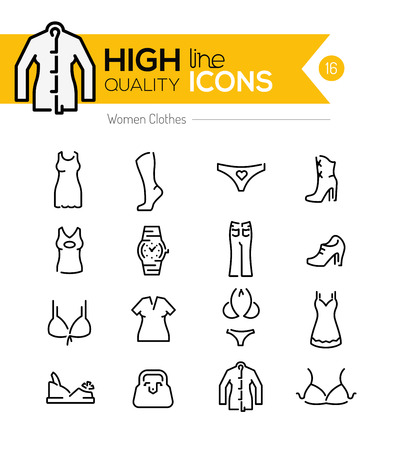 Illustration for Women Clothes line Icons series - Royalty Free Image