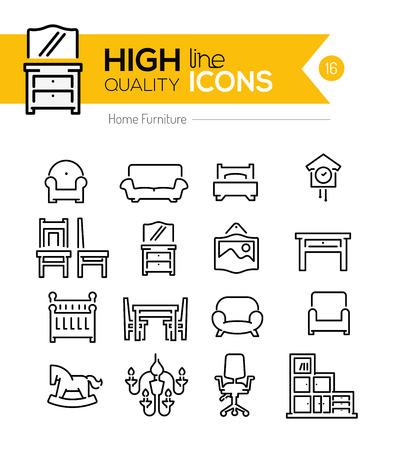 Illustration pour Home furniture line icons - image libre de droit