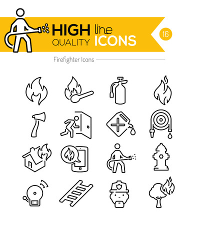 Illustration for Firefighting Line Icons - Royalty Free Image