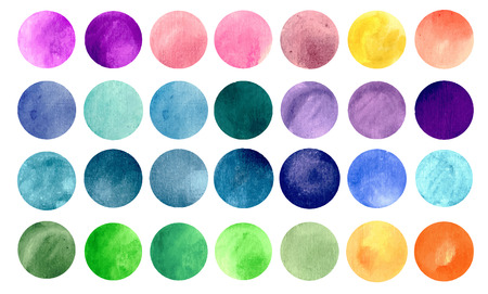 Illustrazione per Watercolour circle textures. Mega-useful pack for you to drag and drop onto your designs. Perfect for branding, greetings, websites, digital media, invites, weddings, merchandise designs and so much more. Bright color vector illustration. - Immagini Royalty Free