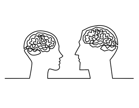 Illustration pour Continuous one line drawing head silhouettes of a couple with a labyrinth inside their heads showing the complexity of the men and women brains and emotions , complex communication Vector illustration - image libre de droit