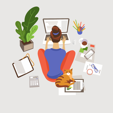 Ilustración de Young woman working, studying at home flat vector illustration. Remote, freelance job. E-learning. Girl sitting on floor and using laptop. Home workspace. Freelancer with cat cartoon character - Imagen libre de derechos