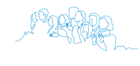 Ilustración de Group of people continuous one line vector drawing. Family, friends hand drawn characters. Crowd standing at concert, meeting. Women and men waiting in queue. Minimalistic contour illustration - Imagen libre de derechos