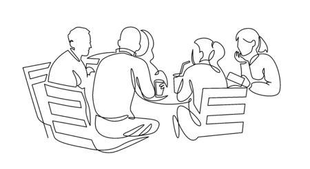Illustration pour Business team meeting continuous line drawing. Friends in cafe contour vector illustration. - image libre de droit