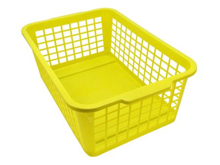Foto de Empty plastic basket isolated on white background - Imagen libre de derechos