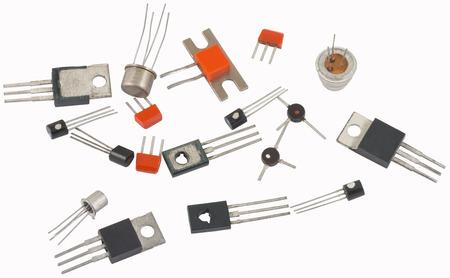 Foto de transistors different type on a white background - Imagen libre de derechos