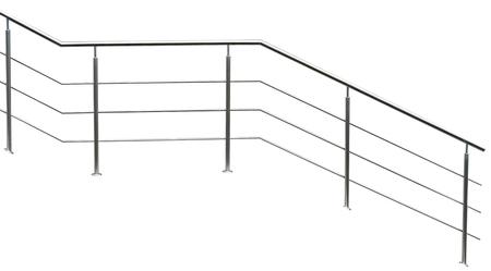 Photo pour Chromium metal fence with handrail on white background - image libre de droit