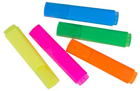 Foto de Colored markers on a white background - Imagen libre de derechos