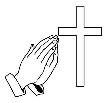 Illustration pour Praying Hands and orthodox cross - Vector Illustration - image libre de droit
