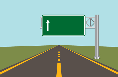 Illustration pour Road highway sign. Green board with arrow and road with markings. Vector illustration. - image libre de droit