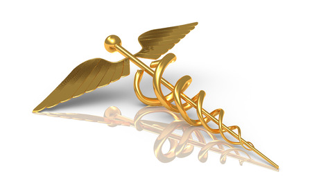 Photo for Caduceus gold - medical and comercial and business symbol - medical symbol as a health care and medicine icon with snakes crawling on a pole with wings on golden metal texture isolated on a white background  - Royalty Free Image