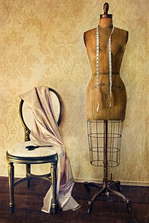 Photo for Antique dress form and chair with vintage look  - Royalty Free Image