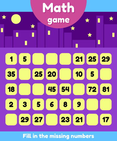 Illustration pour Vector illustration. Math game for preschool and school age children. Fill the missing numbers. Find a sequence. - image libre de droit