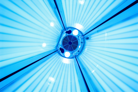 Photo for Solarium tanning bed, view from inside - Royalty Free Image