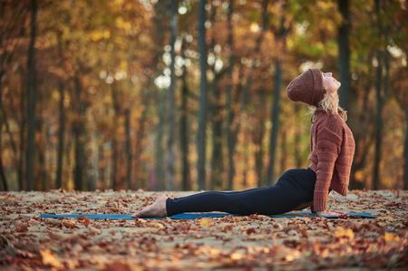 Foto de Beautiful young woman practices yoga asana upward facing dog on the wooden deck in the autumn park. - Imagen libre de derechos