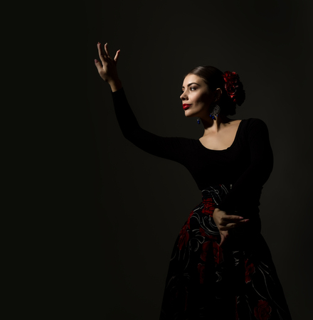 Photo for flamenco dancer on a dark background. free space for your text - Royalty Free Image