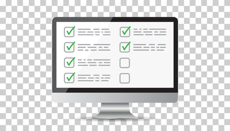 Illustration pour Businessman checklist with computer. Check list icon flat vector illustration. - image libre de droit