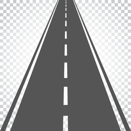 Illustration pour Straight road with white markings vector illustration. Highway road icon. Business concept simple flat pictogram on isolated background. - image libre de droit