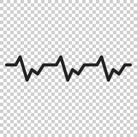Ilustración de Heartbeat icon in flat style. Heartbeat illustration on isolated transparent background. Heart rhythm concept. - Imagen libre de derechos