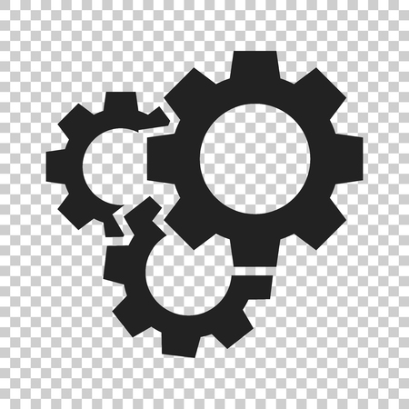 Illustration pour Gear vector icon in flat style. Cog wheel illustration on isolated transparent background. Gearwheel cogwheel business concept. - image libre de droit