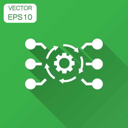 Illustration pour Algorithm api software vector icon in flat style. Business gear with arrow illustration with long shadow. Algorithm concept. - image libre de droit