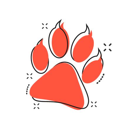 Ilustración de Vector cartoon paw print icon in comic style. Dog, cat, bear paw sign illustration pictogram. Animal foot business splash effect concept. - Imagen libre de derechos