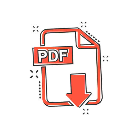 Illustration pour Vector cartoon PDF download icon in comic style. PDF format sign illustration pictogram. Document business splash effect concept. - image libre de droit