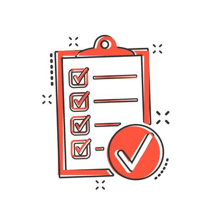 Illustration pour Vector cartoon checklist icon in comic style. Checklist, task list sign illustration pictogram. Survey business splash effect concept. - image libre de droit