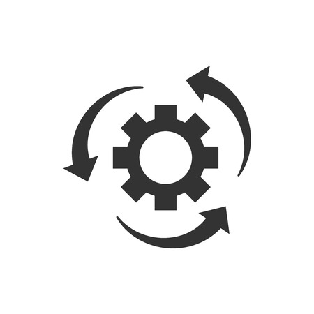 Illustration pour Workflow process icon in flat style. Gear cog wheel with arrows vector illustration on white isolated background. Workflow business concept. - image libre de droit
