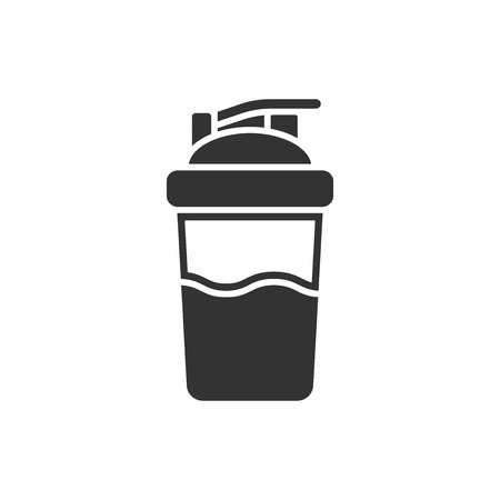 Illustration pour Shaker icon in flat style. Sport bottle vector illustration on white isolated background. Fitness container business concept. - image libre de droit