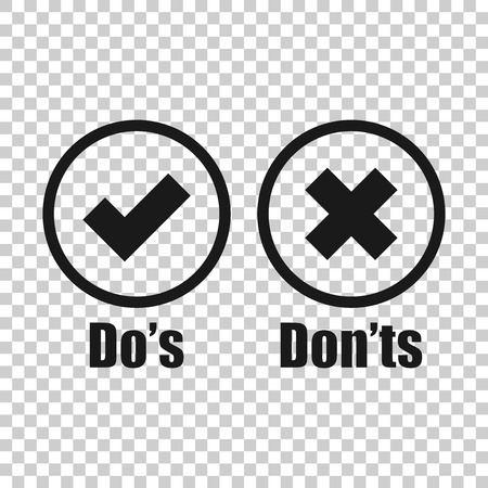 Illustrazione per Do's and don'ts sign icon in transparent style. Like, unlike vector illustration on isolated background. Yes, no business concept. - Immagini Royalty Free