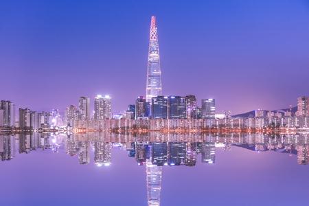 Photo pour Seoul City at night South Korea    - image libre de droit