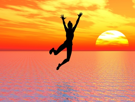 Photo pour I believe I can fly; young woman jumps into the ocean a symbol for courage, self confidence and success: I can make it! - image libre de droit