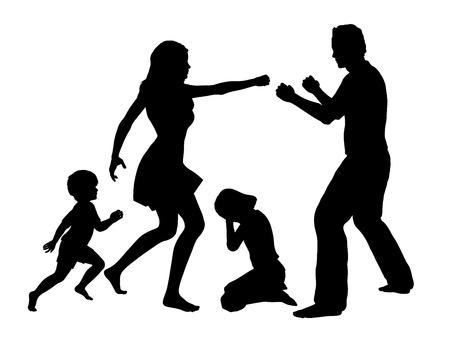 Foto de Family Drama  Concept sign for domestic violence with children as main victims - Imagen libre de derechos