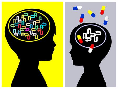 Foto de ADHD Treatment Concept.  The medication of  Attention deficit hyperactivity disorder has side effects on the person - Imagen libre de derechos