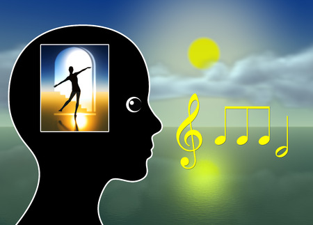 Foto de Healing Music. Music therapy for relaxation, meditation, stress reduction, pain management or just to tickle fantasy - Imagen libre de derechos