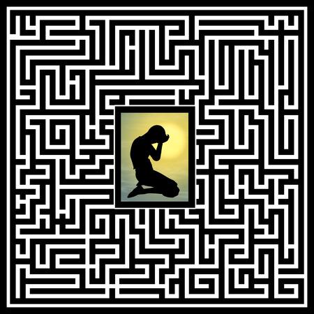 Foto de Emotional and psychological trauma. Concept sign of person with social anxiety disorder - Imagen libre de derechos