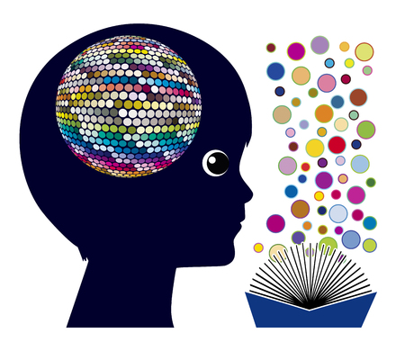 Photo for Reading affects the brain. Cognitive stimulation and brain development for children in early childhood education - Royalty Free Image