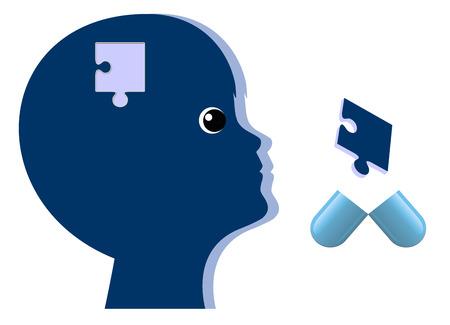 Foto de Psychiatric Drugs for Children. Kid with brain disorder gets medical treatment - Imagen libre de derechos