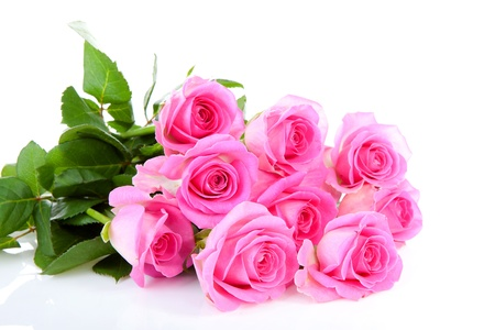 Photo for Bouquet of pink roses over white background - Royalty Free Image