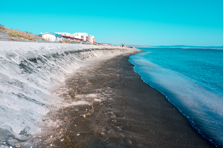 Photo for sea coast of Bulgaria ,texture black sand on the concept of a seaside holiday, background - Royalty Free Image